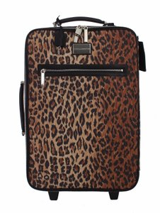 Dolce&Gabbana Brown leopard print and black, silver metal Travel Bag