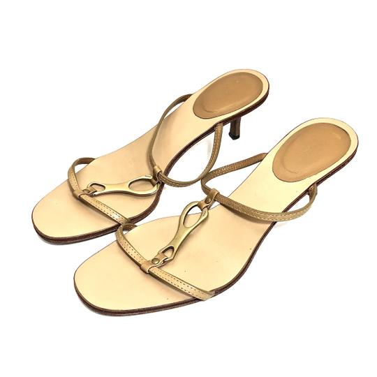 Gucci Leather Logo Tan / Gold Sandals Image 1