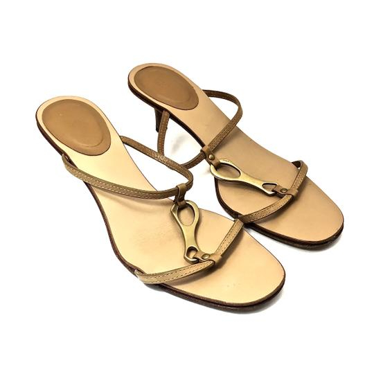 Gucci Leather Logo Tan / Gold Sandals Image 2