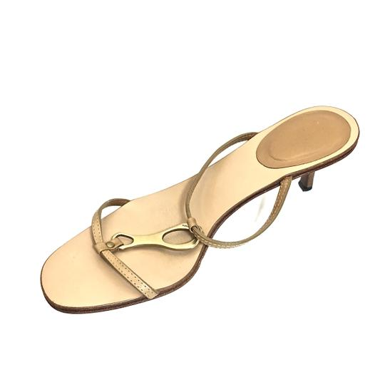 Gucci Leather Logo Tan / Gold Sandals Image 3