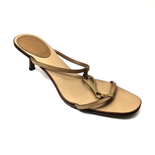 Gucci Leather Logo Tan / Gold Sandals Image 4