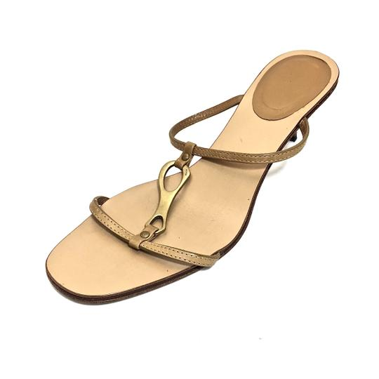 Gucci Leather Logo Tan / Gold Sandals Image 5