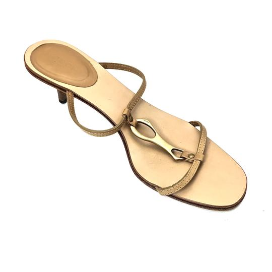 Gucci Leather Logo Tan / Gold Sandals Image 6
