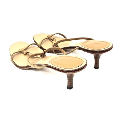 Gucci Leather Logo Tan / Gold Sandals Image 8
