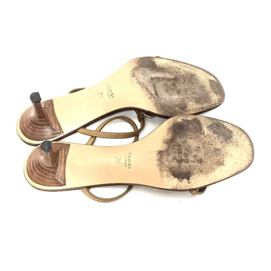 Gucci Leather Logo Tan / Gold Sandals Image 9