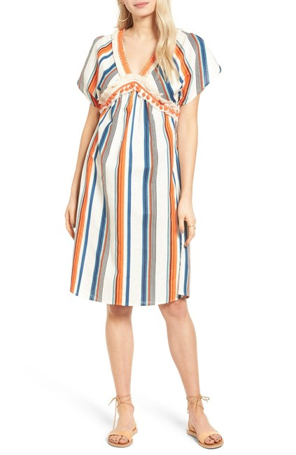 Item - Multicolor XS Striped Cotton-linen Mid-length Casual Maxi Dress Size 2 (XS)