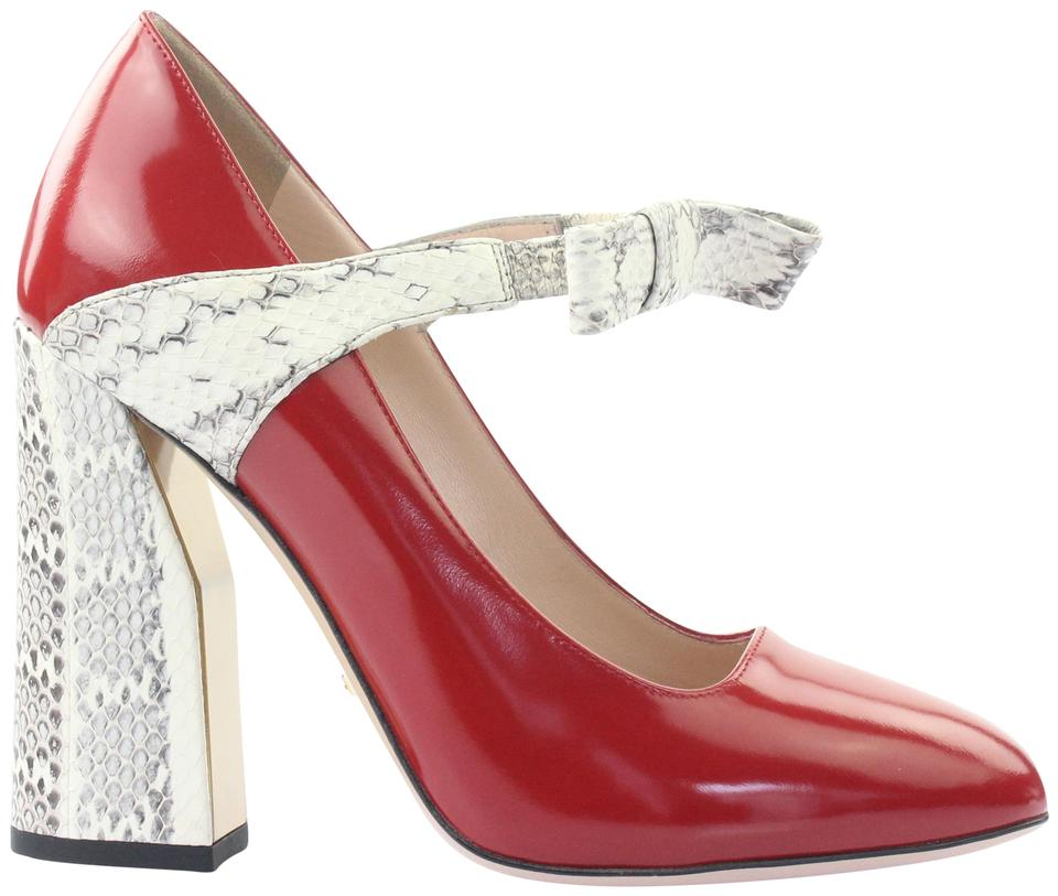 758345fcf1a Gucci Red Nimue Snakeskin Mary Jane Pumps Size EU 37.5 (Approx. US ...