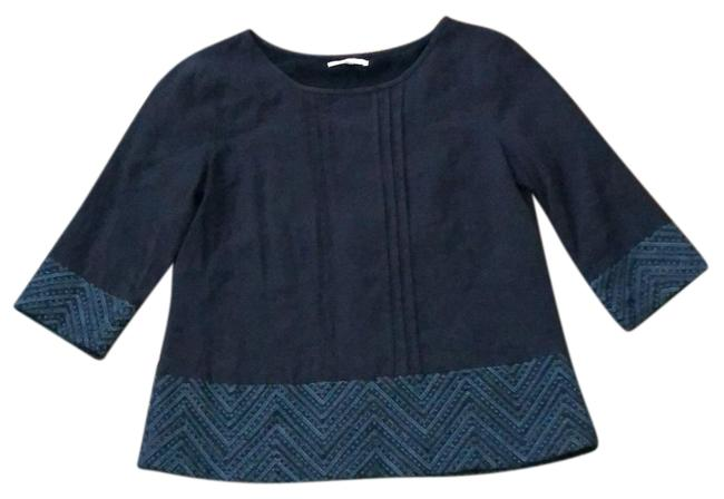 Item - Navy Blue Embroidered Linen Tunic Size 8 (M)