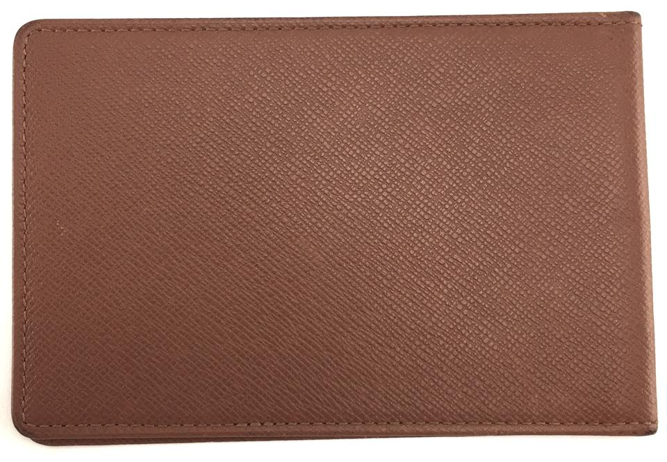 3a27b6d4021 Louis Vuitton #25367 Brown Taiga Leather Bifold Pass Id Case Album Card  Monogram Logo Wallet