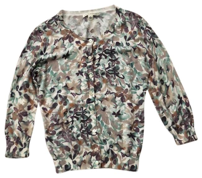 Item - White with Beige and Aqua Watercolor Flowered Cardigan Size 6 (S)