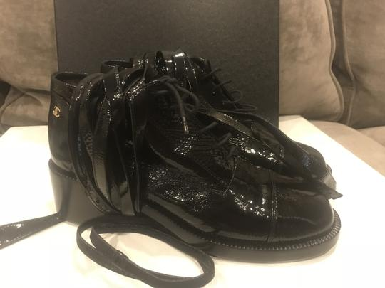 Chanel Loafers Patent Leather Wrap Lace Up Black Boots Image 2