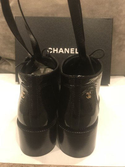 Chanel Loafers Patent Leather Wrap Lace Up Black Boots Image 3