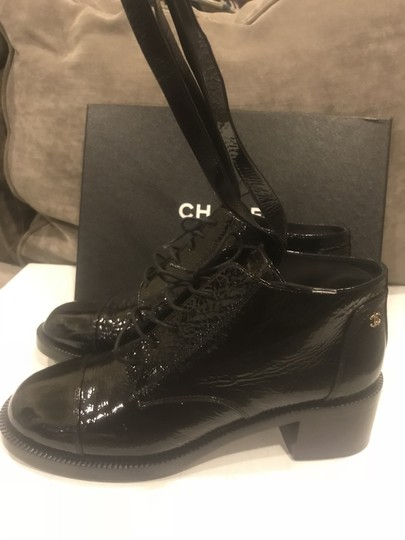 Chanel Loafers Patent Leather Wrap Lace Up Black Boots Image 7