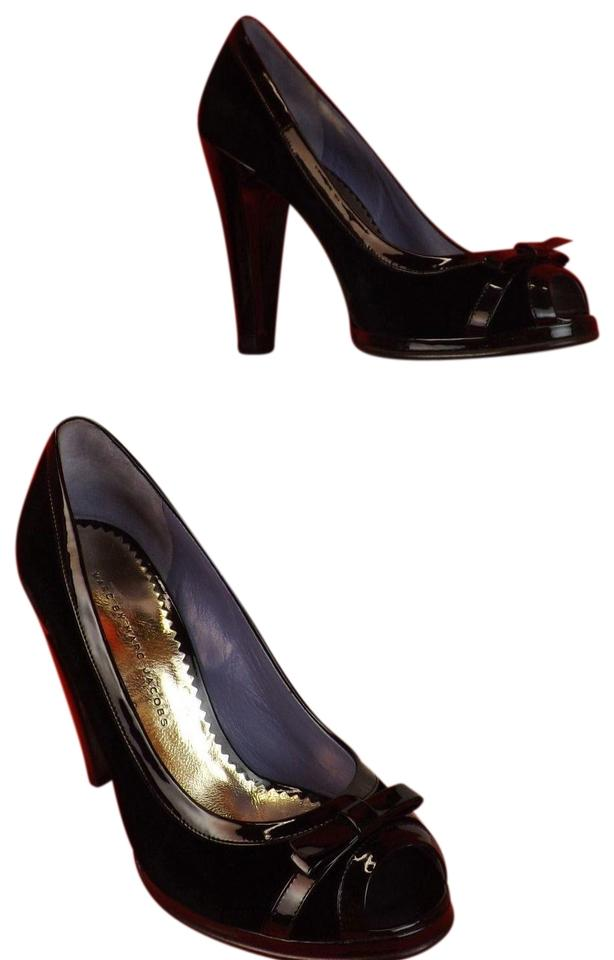 Marc by Marc Jacobs Black Velour Patent Bow Peep Toe Classic Italy Pumps