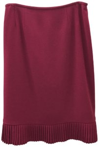 Albert Nipon Pleated Ruffle Petite Skirt Maroon