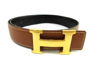 Hermès Hermes Constance Black Brown Reversible Leather H Logo Belt 65