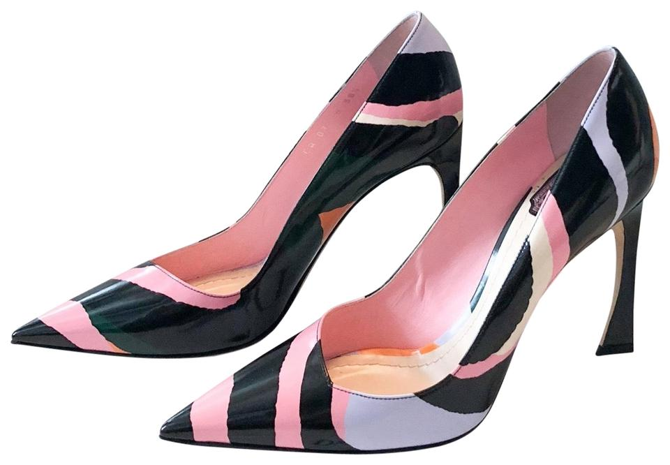 fbe944c31ad8 Dior Multicolor Songe Patent Curved Heels Pumps Size EU 38.5 (Approx ...