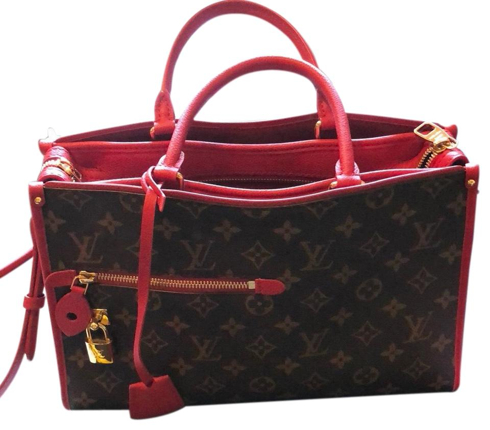 3c4916382b Louis Vuitton Popincourt Pm Red and Monogram Leather Canvas Suede Brass  Shoulder Bag