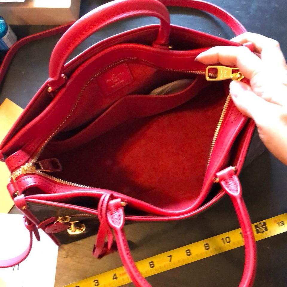5a230da25114 Louis Vuitton Popincourt Pm Red and Monogram Leather Canvas Suede ...