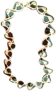 It's in the Bag Black Cloisonne and Goldtone 18 Inch Heart Necklace