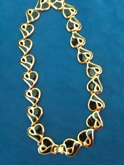 It's in the Bag Black Cloisonne and Goldtone 18 Inch Heart Necklace Image 1