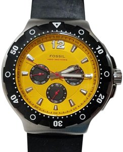 Fossil Fossil Chronograph Watch Yellow Gold Dial Black Rubber Band