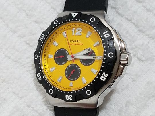Fossil Fossil Chronograph Watch Yellow Gold Dial Black Rubber Band Image 1