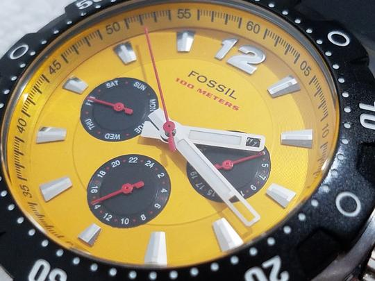Fossil Fossil Chronograph Watch Yellow Gold Dial Black Rubber Band Image 6