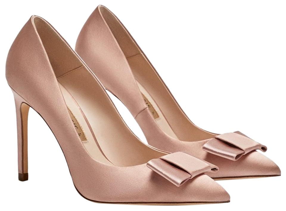 8f233ed814d Zara Pink Satin Champagne Bow Pumps Size US 6 Regular (M