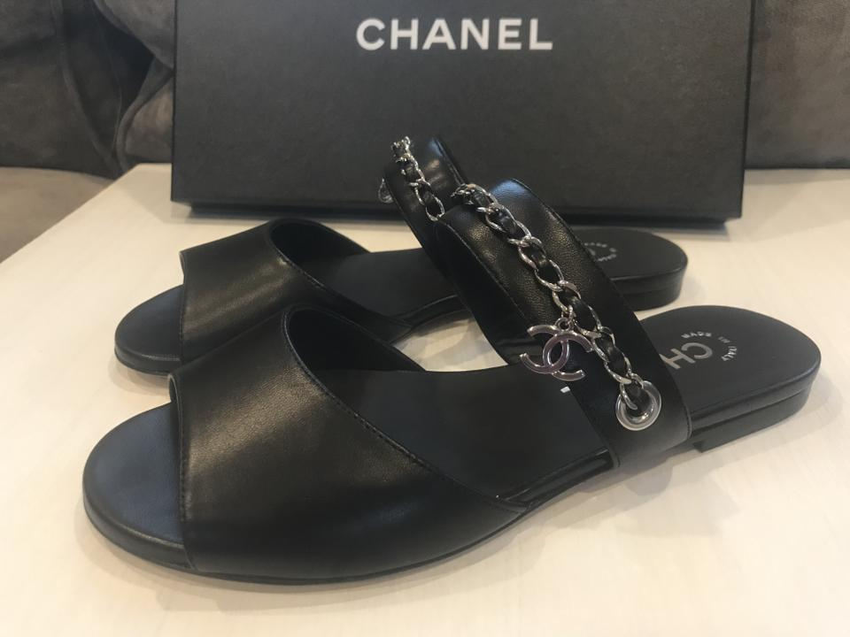1c08b190d Chanel Chain Clover Cc Charm Slides Black Sandals Image 10. 1234567891011