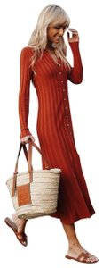 Zara Buttons Long Sleeve Pleated Red Midi Dress