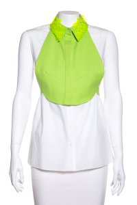 Delpozo Button Down Shirt White & Green