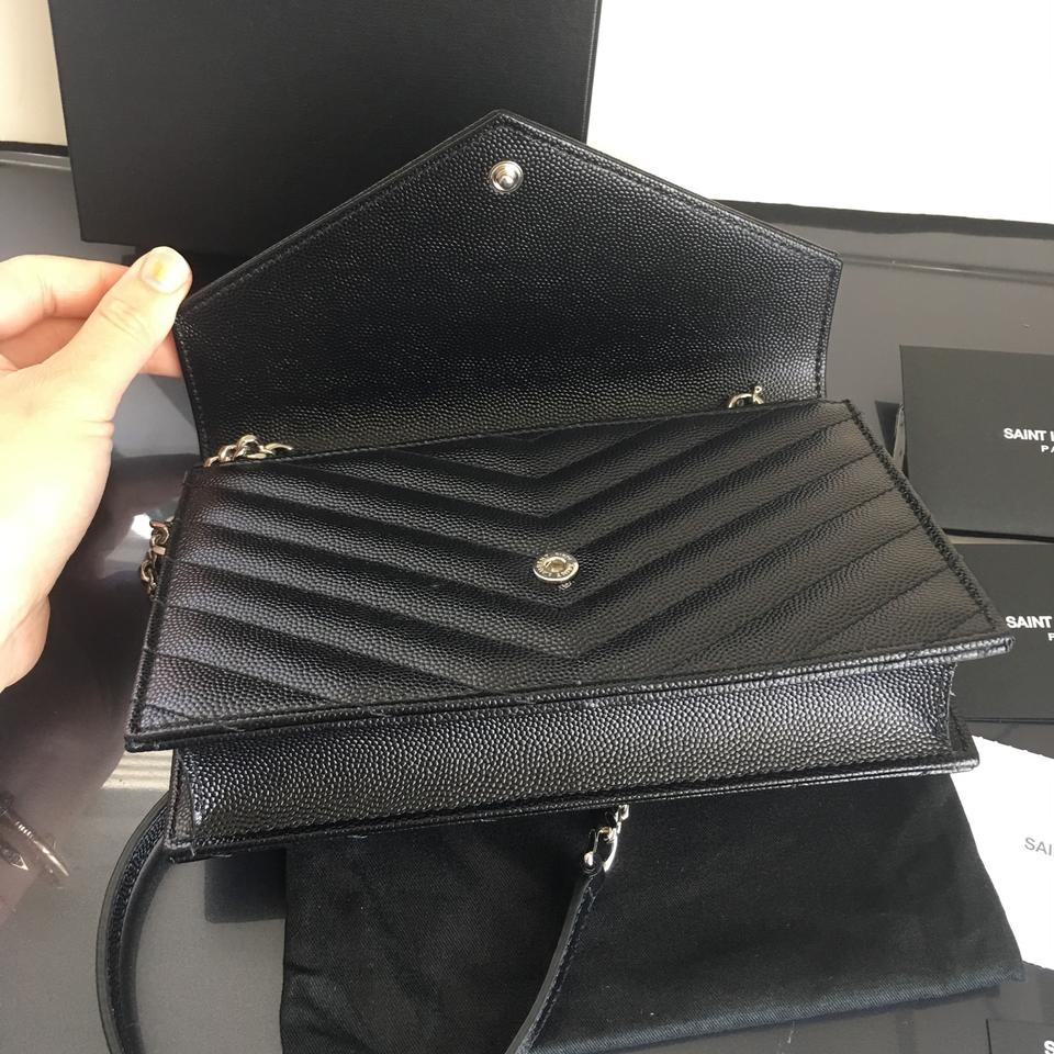 Bag Envelope Body Leather Saint Laurent Monogram Black Cross vaqqF0Ew