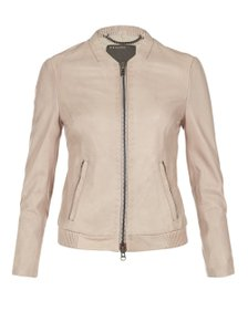 Muubaa Nude Leather Jacket