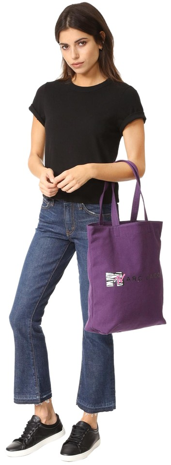 Mtv Tote Retro Jacobs Purple Cotton Canvas Marc Zgf5qw