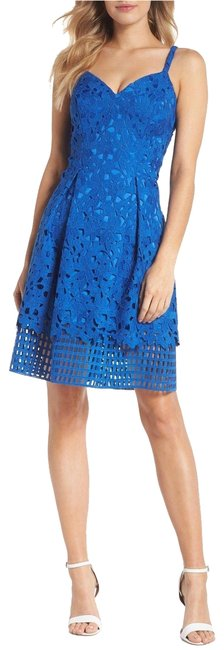 Preload https://img-static.tradesy.com/item/23789502/vince-camuto-cobalt-blue-lace-fit-and-flare-short-cocktail-dress-size-14-l-0-1-650-650.jpg