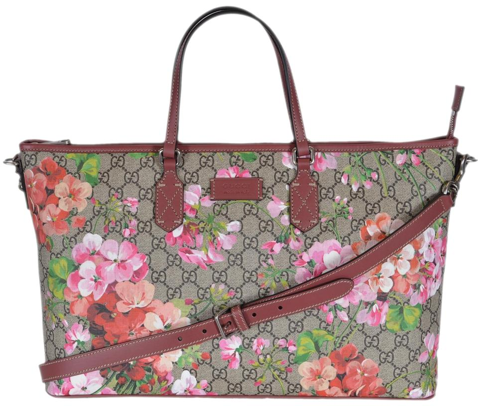 52935b236977 Gucci New 410478 Pink Floral Blooms Purse Multicolor Gg Supreme ...