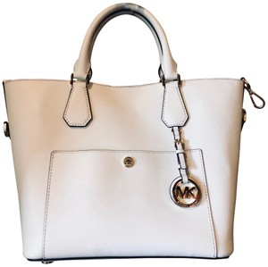 Michael Kors Leather Monogram Tote in White