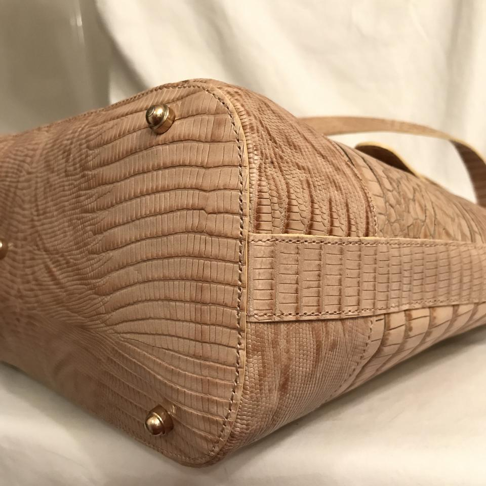 Brahmin Embossed Gator Tote Tan Croc Beige Leather rrqHfOw