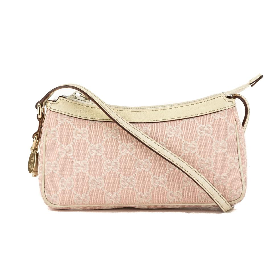 b56eb635f00 Gucci White Leather Monogram Pochette Pre Owned Pink Canvas Tote ...