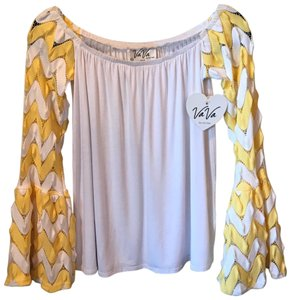 Voom by Joy Han Top White and Yellow