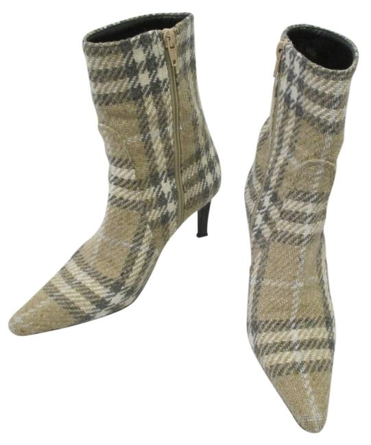 Item - Beige Cream and Gray W Tweed Ankle In W/ Zipper - Boots/Booties Size US 6 Regular (M, B)