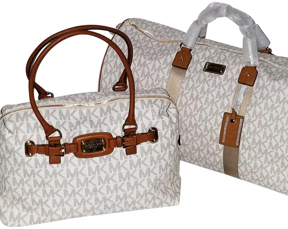 f1f69cbd439baa Michael Kors Mk Weekenders Duffle Monogram Jet Set Vanilla/Acorn Travel Bag  ...