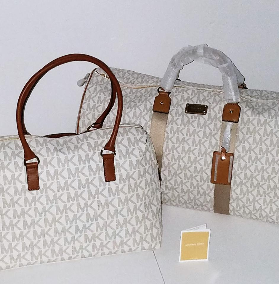 700a04d3b2bd5f Michael Kors New 2pc Mk Jet Set Lrg Duffle & Hamilton Vanilla/Acorn Pvc  Coated Canvas Weekend/Travel Bag