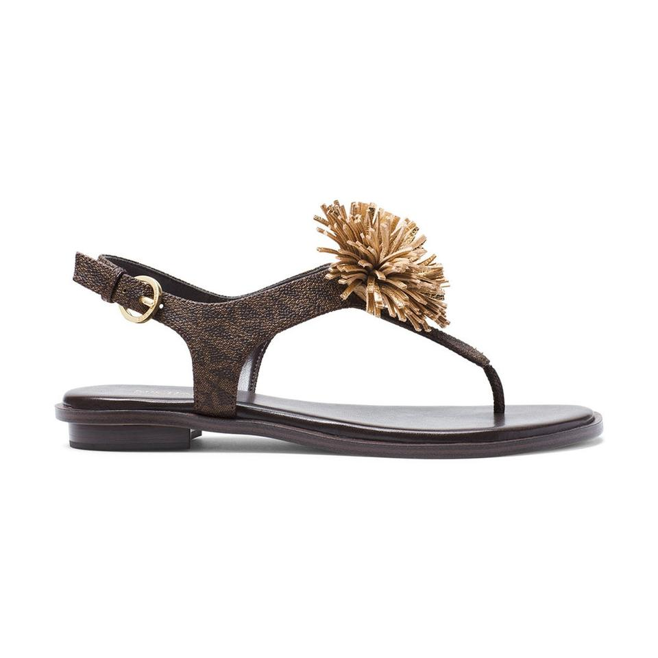 ceb85901f46 Michael Kors Brown Gold Women s Mini Mk Logo Lolita Coated Nappa Sandals