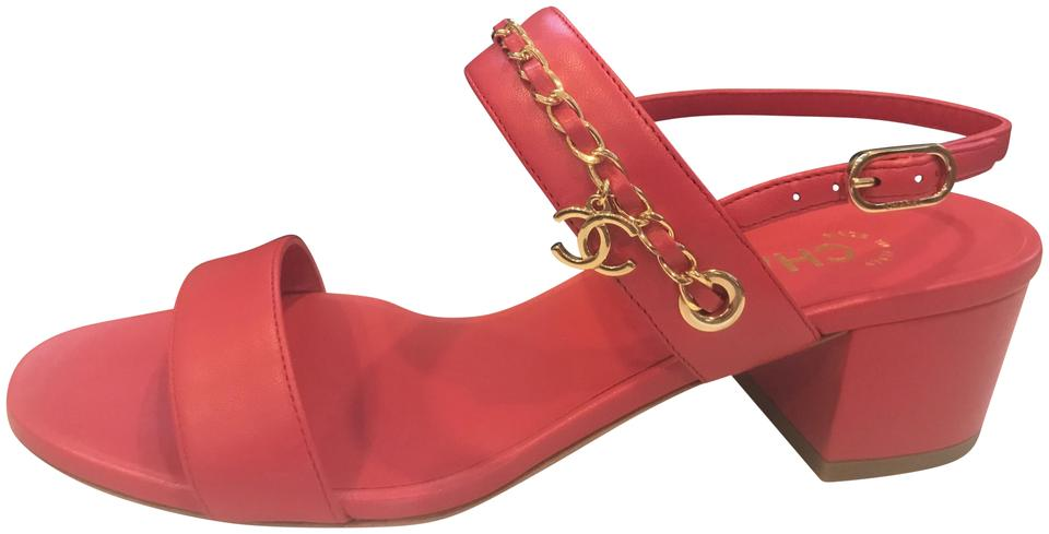 07faa3401 Chanel Red 18p Leather Chain Cc Clover Charm Heels Sandals Size EU ...