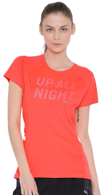 Item - New Peach Fluro Night Cat Logo Up All Night Graphic Reflective T-shirt Activewear Top Size 12 (L)