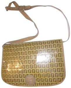 Fendi High-end Bohemian Mint Vintage Rare Early Shoulder/Cross Yellow/Brown Cross Body Bag
