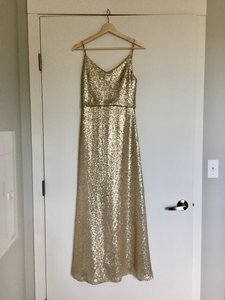 Jenny Yoo Gold Sequin W/ Polyester Lining Jules W/ Detachable Back Cowl - Formal Bridesmaid/Mob Dress Size 4 (S)