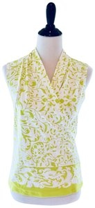 J. McLaughlin Shirt White Sleeveless Top Lime green pattern